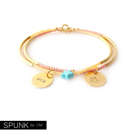 Minimalist Beaded Gold Bracelet - Czech Glass Beads, Magnesite, Brass - Pink, Champagne, Turquoise, Gold - Set of 2 - The Skinny: Wish Star - product images  of