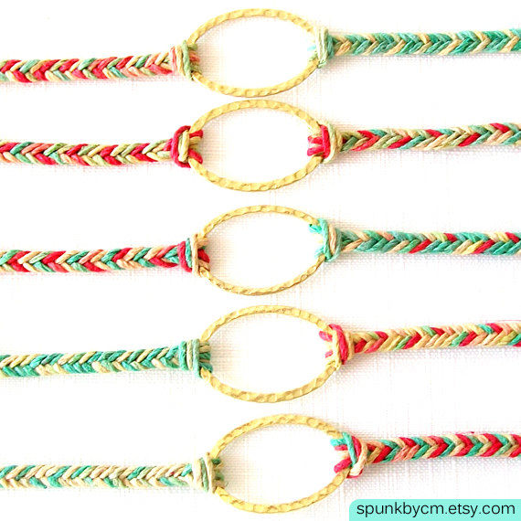 Gold Hemp Bracelet - Braided - Hemp, Brass - Red, Green, Yellow, Gold - The Bohemian: Rasta Triple Wrap - product images  of