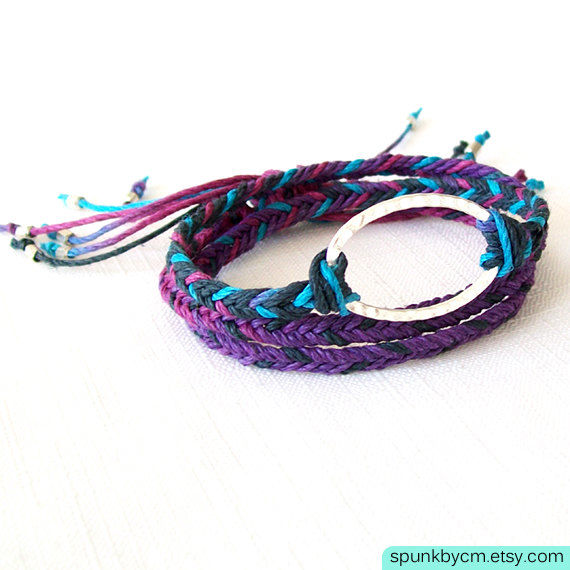 Silver Hemp Bracelet - Braided - Hemp, Brass - Purple, Blue, Silver - The Bohemian: Ocean Triple Wrap - product images  of