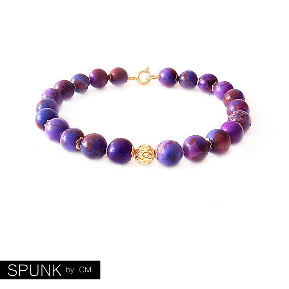 Gold Gemstone Bracelet - Magnesite - Purple, Gold - The Stoned: Speckled Filigree 8mm Round - product images  of