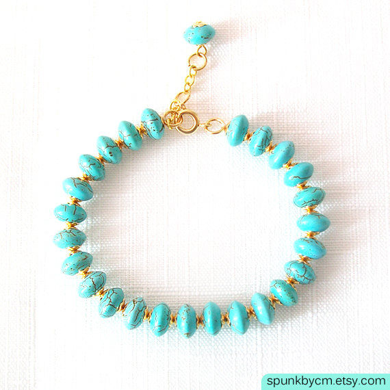 Gold Gemstone Bracelet - Magnesite - Turquoise, Gold - The Stoned: Heishi Dangle - product images  of