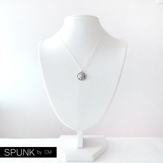 Silver Chain Pendant Necklace - Round Shield Charm - Sterling Silver - Silver - The Basics: Geometric Shield - product images  of