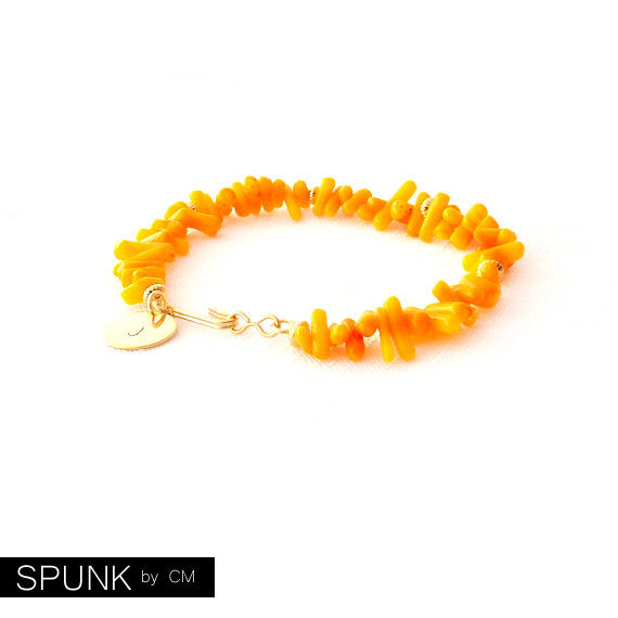 Shell Gold Bracelet - Personalized Monogram Initials - Coral - Orange - The Oceania: Spike - product images  of