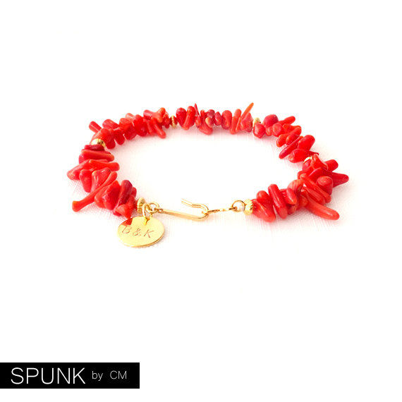 Shell Gold Bracelet - Personalized Monogram Initials - Coral - Red - The Oceania: Spike - product images  of