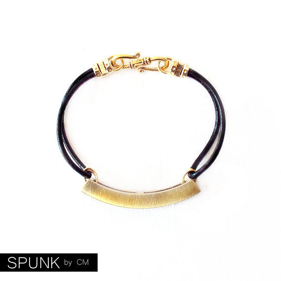 Round Leather Bracelet - Affirmation Word - Gold, Black - The Basics: 2mm Double Strand Love - product images  of