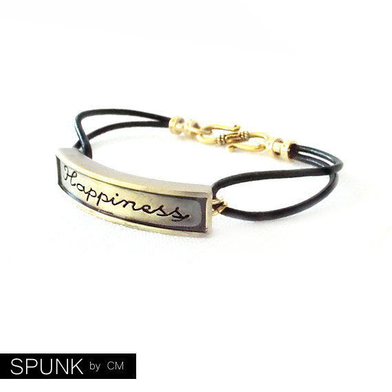 Round Leather Bracelet - Affirmation Word - Gold, Black - The Basics: 2mm Double Strand Happiness - product images  of