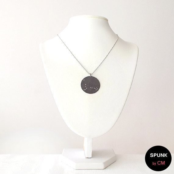 Stainless Steel Necklace - Gunmetal - Black, Silver - The Basics: Constellation Circle Zodiac Sign - product images  of
