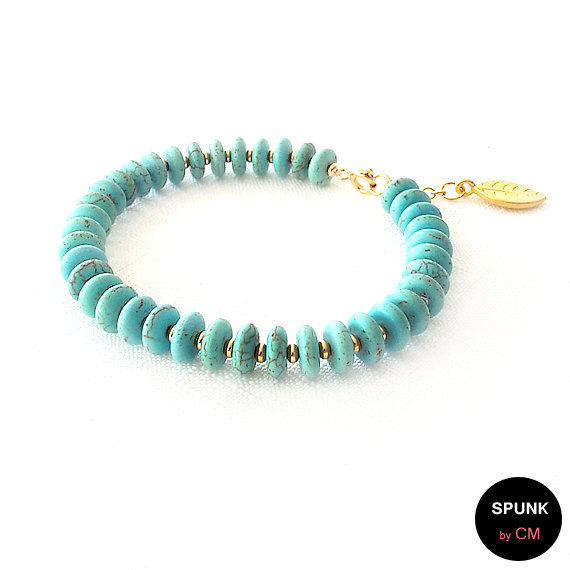 Gold Gemstone Bracelet - Magnesite - Turquoise, Gold - The Stoned: Heishi Leaf Dangle - product images  of