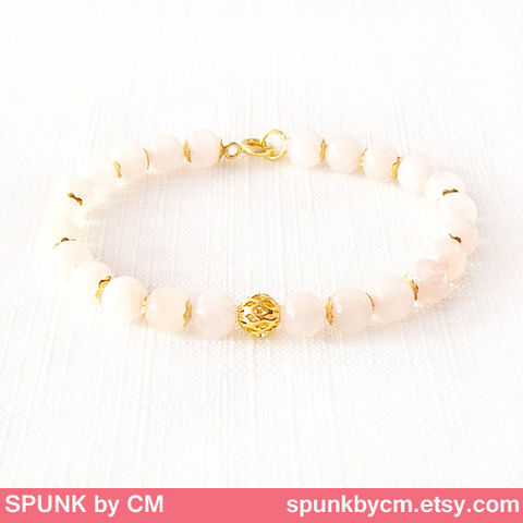 Gold,Gemstone,Bracelet,-,Quartz,Rose,Pink,,The,Stoned:,Speckled,Filigree,6mm,Round,Jewelry,gold_bracelet,black_friday,cyber_monday,spunkbycm,reiki_jewelry,minimalist_bracelet,gemstone_bracelet,beaded_bracelet,jewelry_for_teens,quartz_bracelet,bridal_jewelry,rose_quartz_bracelet,bridesmaid_jewelry,brass,gold plated,quartz