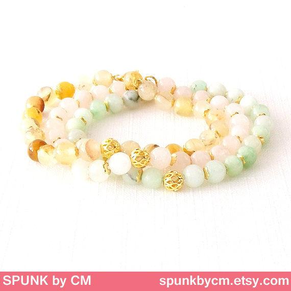 Gold Gemstone Bracelet - Quartz - Rose Pink, Gold - The Stoned: Speckled Filigree 6mm Round - product images  of