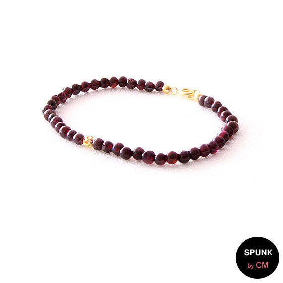Gold Gemstone Bracelet - Garnet - Dark Maroon, Gold - The Stoned: Filigree 4mm Round - product images  of