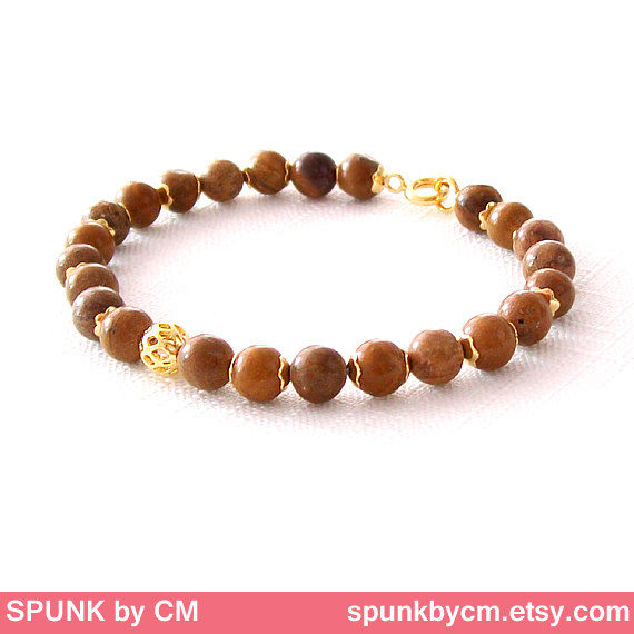 Gold Gemstone Bracelet - Jasper - Brown, Gold - The Stoned: Speckled Filigree 6mm Round - product images  of