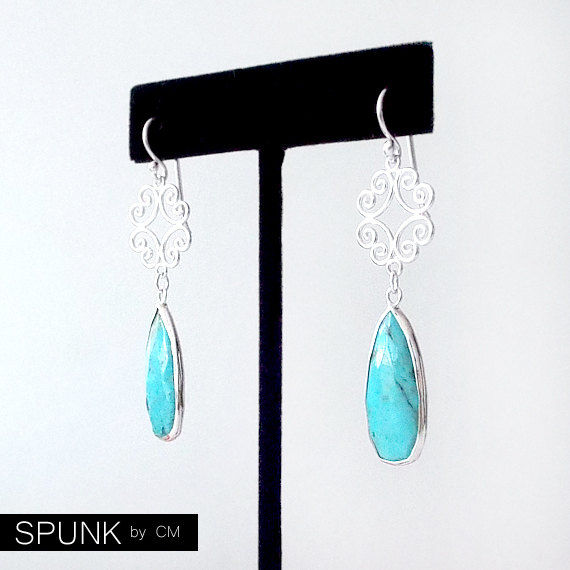 Sterling Silver Dangle Earrings - Turquoise - The Cocktail: Filigree Teardrop - product images  of