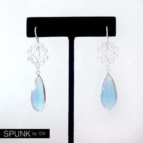 Sterling,Silver,Dangle,Earrings,-,Chalcedony,Light,Blue,The,Cocktail:,Filigree,Teardrop,Jewelry,gemstone_earrings,chalcedony_earrings,silver_drop_earrings,bridal_jewelry,bridesmaid_earrings,teardrop_earrings,light_blue_earrings,something_blue,winter_wedding,garden_wedding,filigree_earrings,spunkbycm_etsy,toronto_jewelry,sterling sil