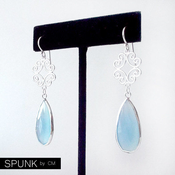Sterling Silver Dangle Earrings - Chalcedony - Light Blue - The Cocktail: Filigree Teardrop - product images  of