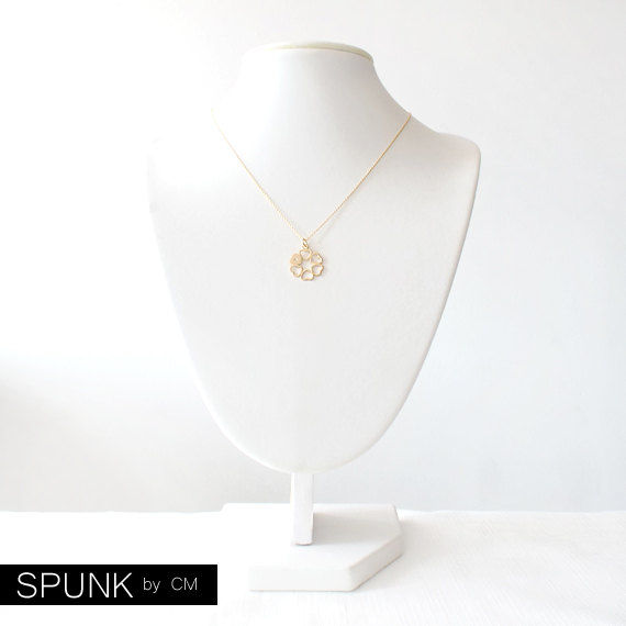 Minimalist Gold Filled Necklace - 0.01 Carat Natural White Diamond Gemstone - Gold - The Basics: Diamond Infinity Open Heart - product images  of