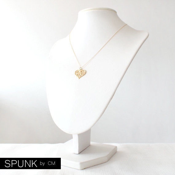 Minimalist Gold Filled Necklace - 0.01 Carat Natural White Diamond Gemstone - Gold - The Basics: Diamond Filigree Heart - product images  of