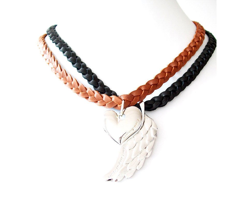 Leather Necklaces - Braided, Engraved - Genuine Leather - Black, Brown, Silver, Gold - Set of 2 - The Basics: Heart and Wing - product images  of