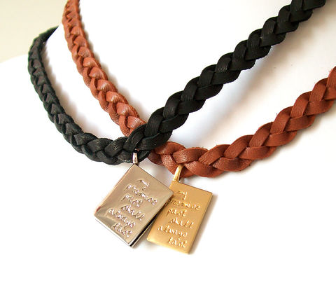 Leather,Necklaces,-,Braided,,Engraved,Genuine,Black,,Brown,,Silver,,Gold,Set,of,2,The,Basics:,Book,and,Page,Jewelry,Necklace,couples_necklaces,couples_jewelry,engraved_necklace,book_pendant,braided_leather,promise_jewelry,jewelry_for_men,leather_anniversary,promise_necklaces,commitment_jewelry,leather_necklace,minimalist_jewelry,friendship_jewelry,silver plated