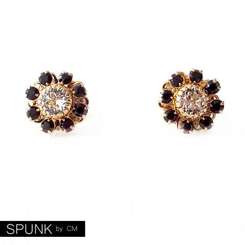 Gold,Stud,Earrings,-,Swarovski,Crystal,Black,,Clear,The,Cocktail:,12mm,Flower,Jewelry,boho_earrings,bridal_earrings,bridesmaid_jewelry,garden_wedding,crystal_earrings,gold_flower_earrings,gold_stud_earrings,flower_girl_jewelry,spunkbycm_etsy,toronto_jewelry,black_gold_studs,Swarovski_crystals,crystal_flower_studs,gold plat