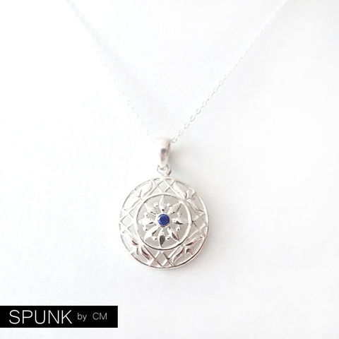 Gemstone,Silver,Chain,Pendant,Necklace,-,Lapis,Lazuli,,Sterling,Blue,,The,Basics:,Flower,Round,Medallion,jewelry, necklace, minimalist-necklace, gemstone-necklace, sterling-silver-necklace, lapis-lazuli-necklace, spunkbycm-etsy, toronto-jewelry, anniversary-gift, silver-chain-necklace, simple-silver-necklace