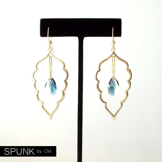 Gold Dangle Earrings - Swarovski Crystal, Brass - Blue - The Bohemian: Large Leaf Teardrop - product images  of