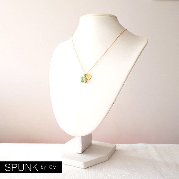 Gold Chain Necklace - Swarovski Crystal, Brass - Light Green - The Basics: Personalized Monogram Initials Cushion Cut - product images  of