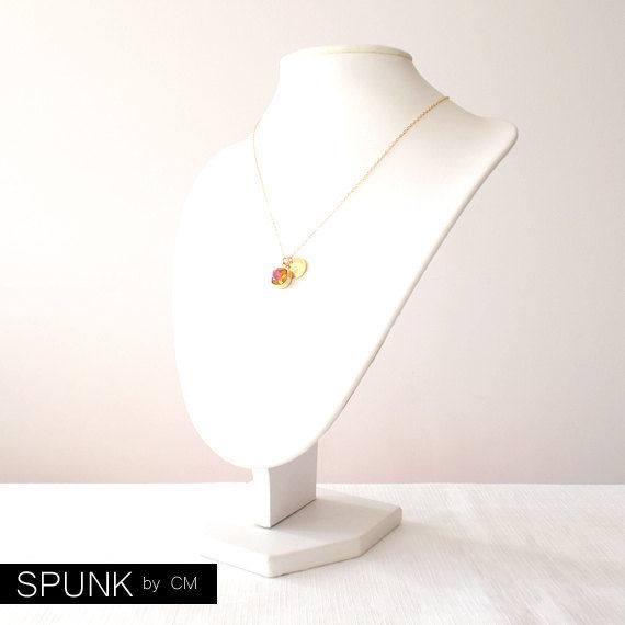 Gold Chain Necklace - Swarovski Crystal, Brass - Amber - The Basics: Personalized Monogram Initials Cushion Cut - product images  of