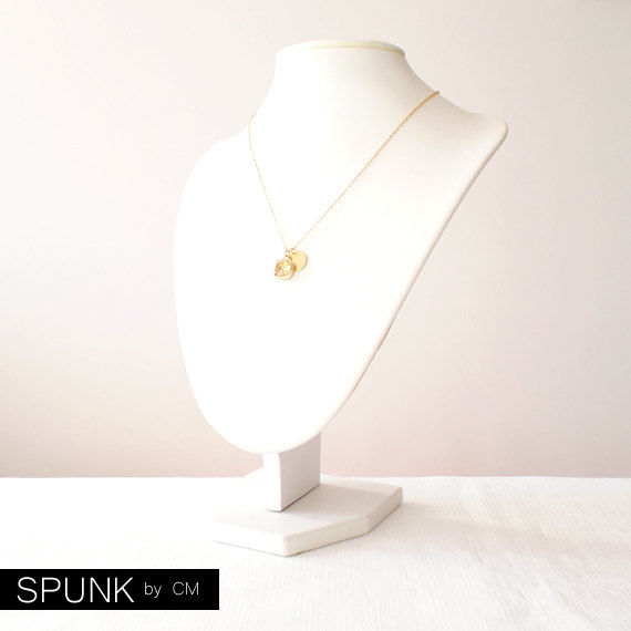 Gold Chain Necklace - Swarovski Crystal, Brass - Yellow - The Basics: Personalized Monogram Initials Cushion Cut - product images  of