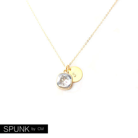 Gold,Chain,Necklace,-,Swarovski,Crystal,,Brass,Smoke,Grey,The,Basics:,Personalized,Monogram,Initials,Cushion,Cut,Jewelry,minimalist_necklace,personalized_jewelry,monogram_necklace,anniversary_jewelry,bridesmaid_necklace,bridal_jewelry,crystal_necklace,spunkbycm_etsy,toronto_jewelry,gold_tag_necklace,everyday_necklace,cushion_cut_necklace,gold_charm_necklace
