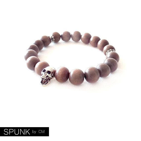 Wood Beaded Stretch Bracelet - Coconut Palm Tree Wood - Mocha, Silver - The Basics: Skull 10mm Round - product images  of