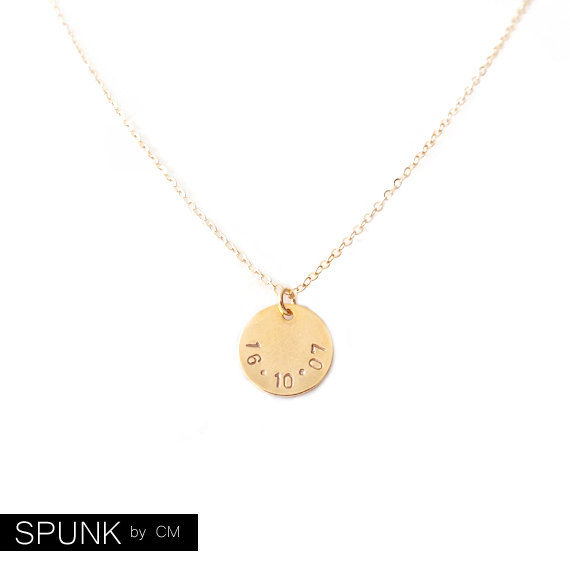 Minimalist Gold Chain Necklace - Personalized Tag - The Basics: Circle Date - product images  of