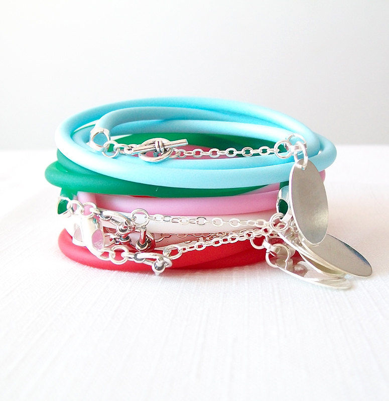Round Rubber Bracelet - Personalized Handstamped Tag - Monogram Initials - Neon Colors, Sterling Silver - The Basics: 4mm Triple Wrap Oval - product images  of