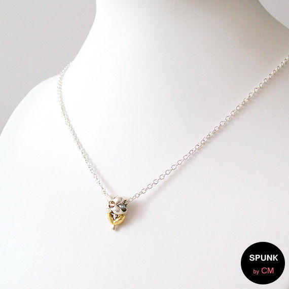 Minimalist Silver Chain Necklace - Pewter - Gold, Silver - The Basics: Four Petal Flower - product images  of