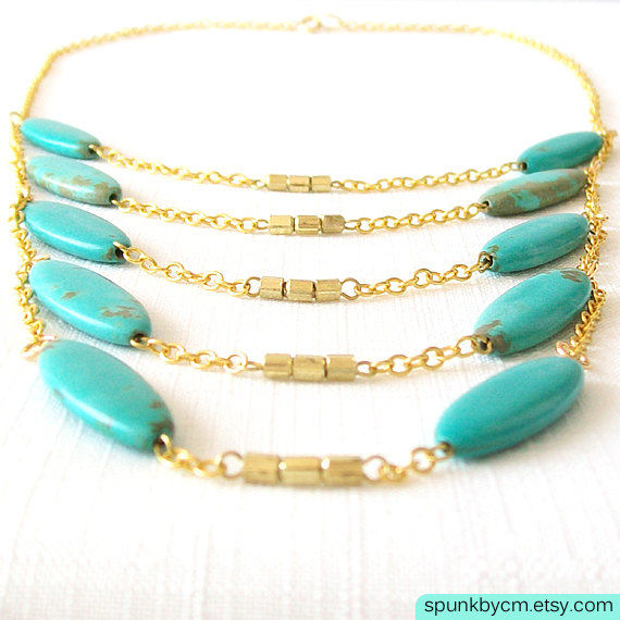 Layered Gold Chain Gemstone Necklace - Magnesite - Teal, Turquoise - The Bohemian: Scorpion Chest Plate - product images  of