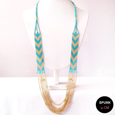 Layered,Loom,Necklace,-,Czech,Glass,Beads,,Brass,Turquoise,,Gold,The,Bohemian:,Chevron,Fringe,Jewelry,chevron_necklace,tribal_necklace,layered_necklace,beach_jewelry,boho_jewelry,gold_necklace,woven_necklace,statement_necklace,loom_necklace,beaded_necklace,toronto_jewelry,spunkbycm,gold_fringe_necklace,Czech glass beads,gold plated,brass