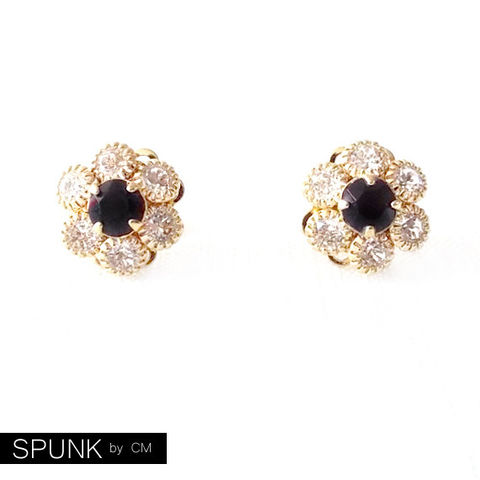 Gold,Stud,Earrings,-,Swarovski,Crystal,Black,,Clear,The,Cocktail:,13mm,Flower,Jewelry,bridal_earrings,bridesmaid_earrings,flower_girl_earrings,gold_flower_earrings,flower_post_earrings,boho_jewelry,garden_wedding,goth_wedding,crystal_earrings,statement_earrings,winter_wedding,spunkbycm_etsy,toronto_jewelry,gold plated,stai