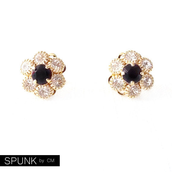 Gold Stud Earrings - Swarovski Crystal - Black, Clear - The Cocktail: 13mm Flower - product images  of