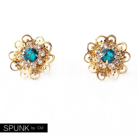 Gold,Stud,Earrings,-,Swarovski,Crystal,Blue,Green,,Clear,The,Cocktail:,18mm,Filigree,Flower,Jewelry,bridal_earrings,bridesmaids_earrings,flower_girl_earrings,cocktail_jewelry,statement_earrings,gold_flower_earrings,gold_stud_earrings,boho_jewelry,blue_green_gold,filigree_earrings,crystal_earrings,spunkbycm_etsy,toronto_jewelry,gold plat