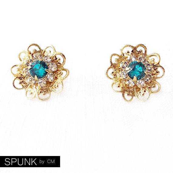 Gold Stud Earrings - Swarovski Crystal - Blue Green, Crystal Clear - The Cocktail: 18mm Filigree Flower - product images  of