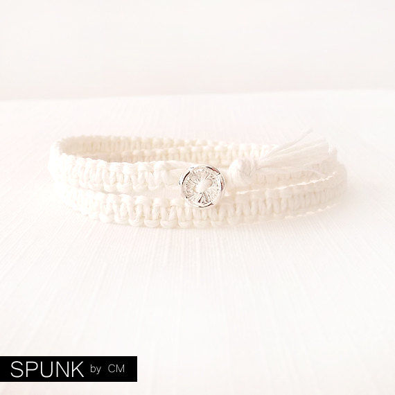 Macramé Knot Bracelet - Natural Bamboo, Sterling Silver - Off White - The Basics: Double Wrap Button - product images  of