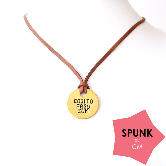 Leather Necklace, Handstamped Jewelry, Minimalist Necklace, Graduation Gift, Cogito Ergo Sum, Ancient Latin Jewelry - The Tagged - product images  of