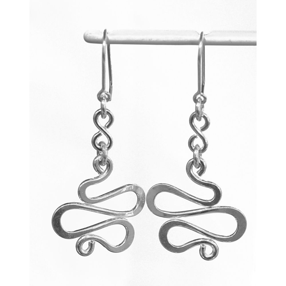 Handmade silver 'snake' earrings - product image