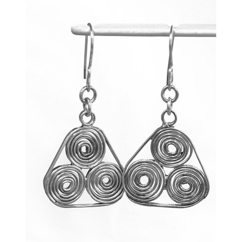 Handmade,silver,'triple,spiral',earrings,silver earrings, triple spiral, norbert abel, west cork crafts