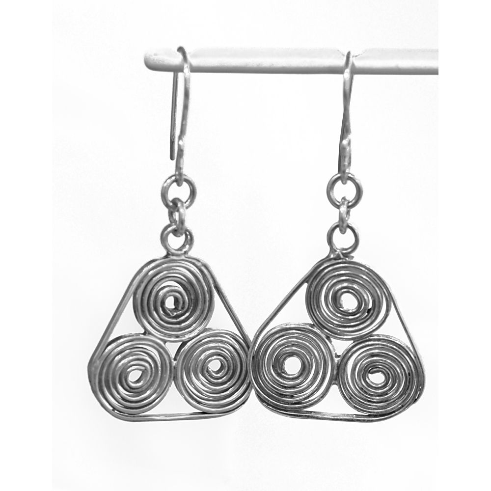 Handmade silver 'triple spiral' earrings - product image