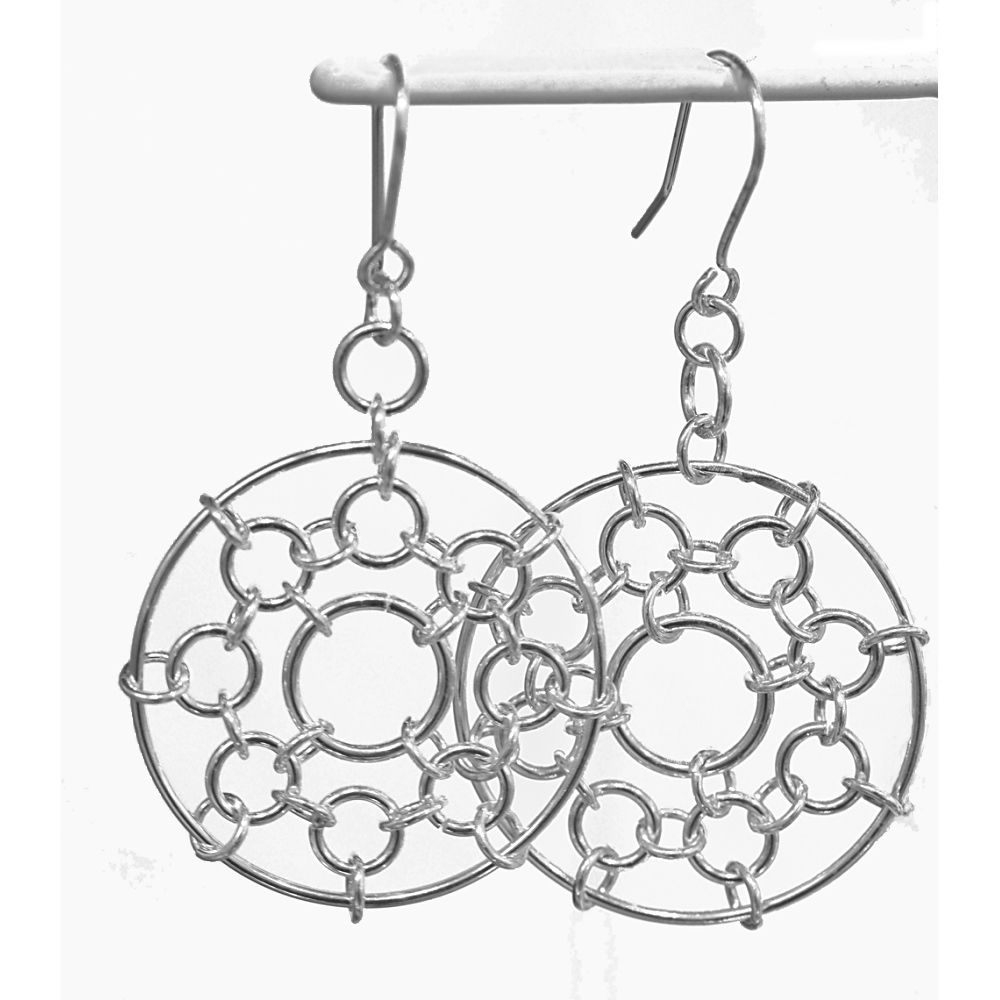 Handmade silver 'dreamcatcher' earrings - product image