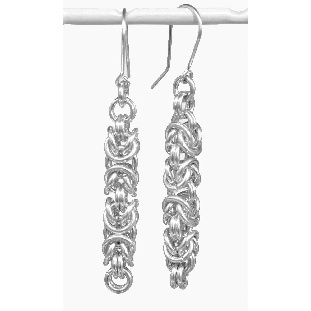 Handmade silver 'byzantine' earrings - product image