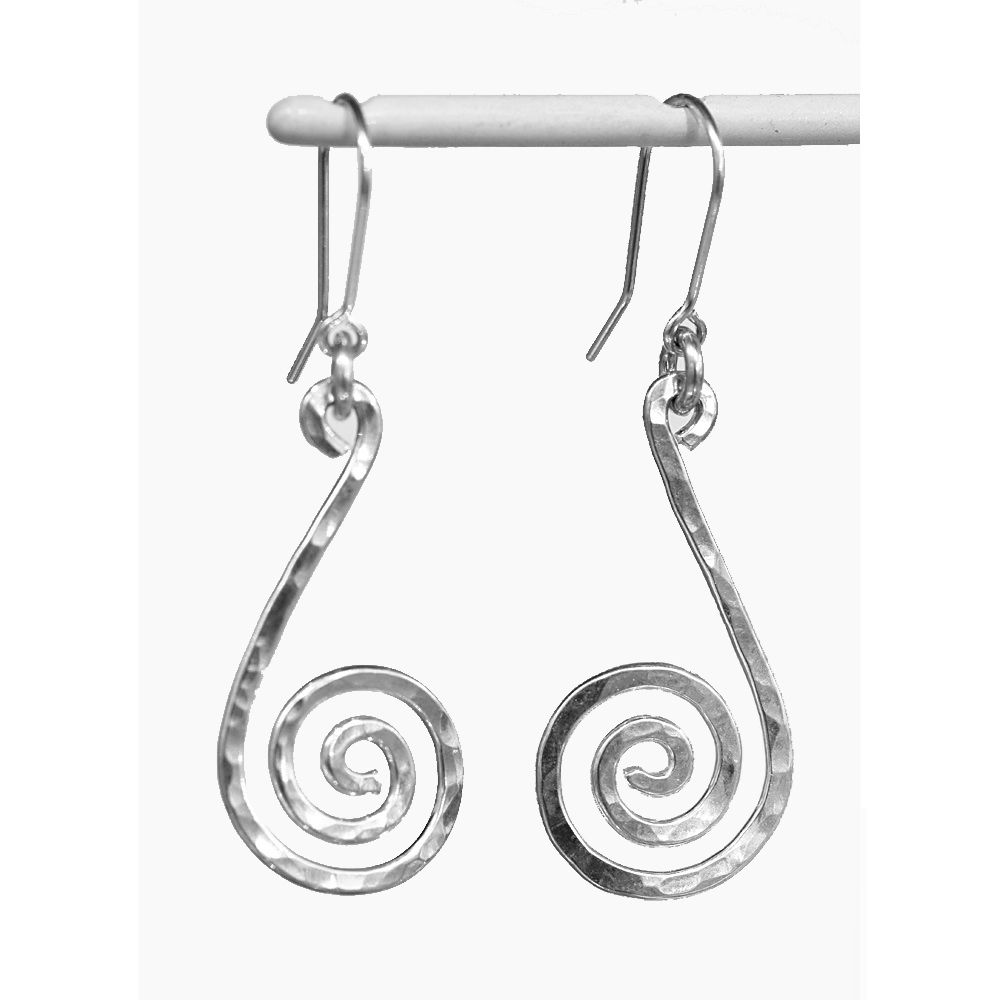 Handmade silver 'snail' earrings - product image