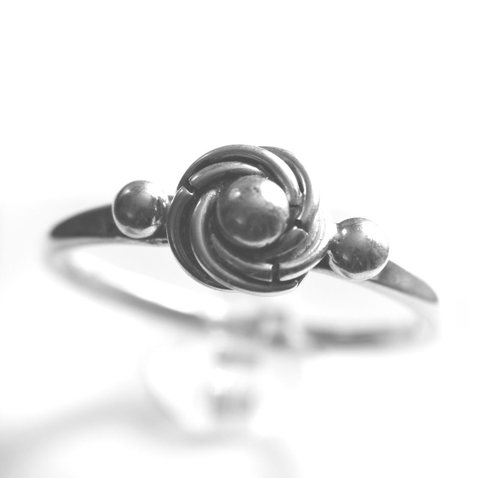 Handmade silver 'silver pearl' ring with narrow band - product images  of