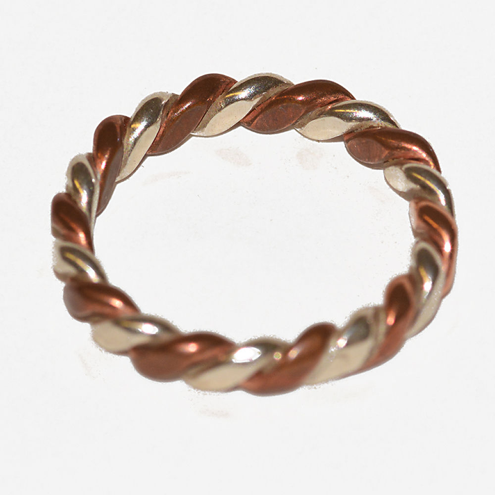 Handmade silver and copper twist ring - product images  of